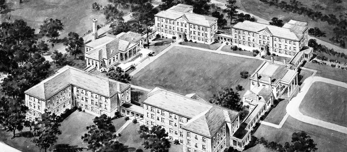 Old black and white fly over view of the upper quad