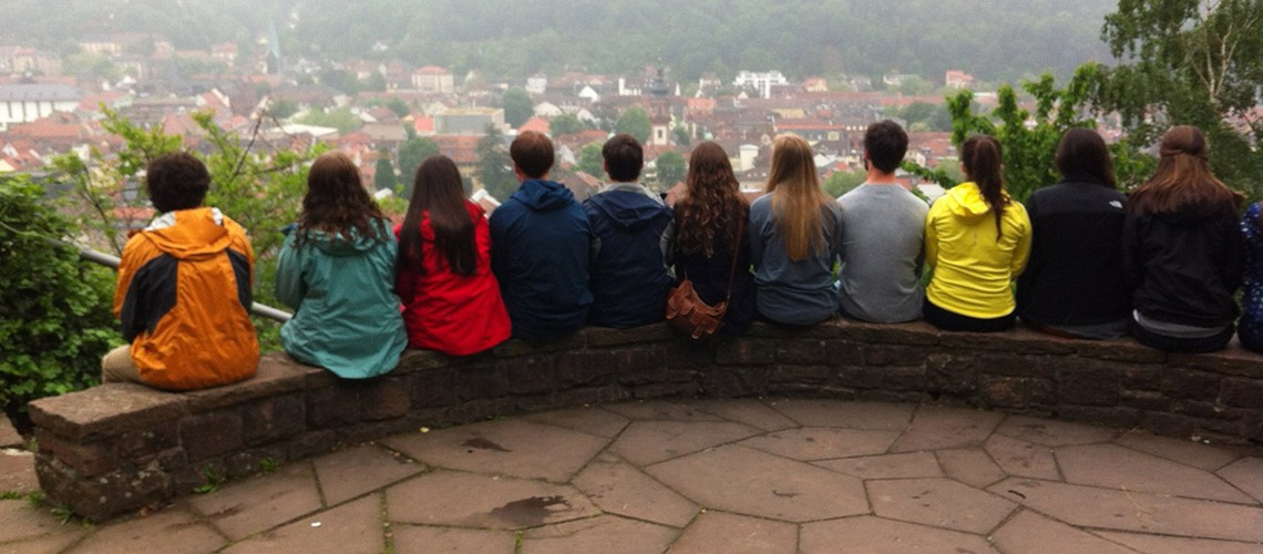 Honor study abroad students overlooking city