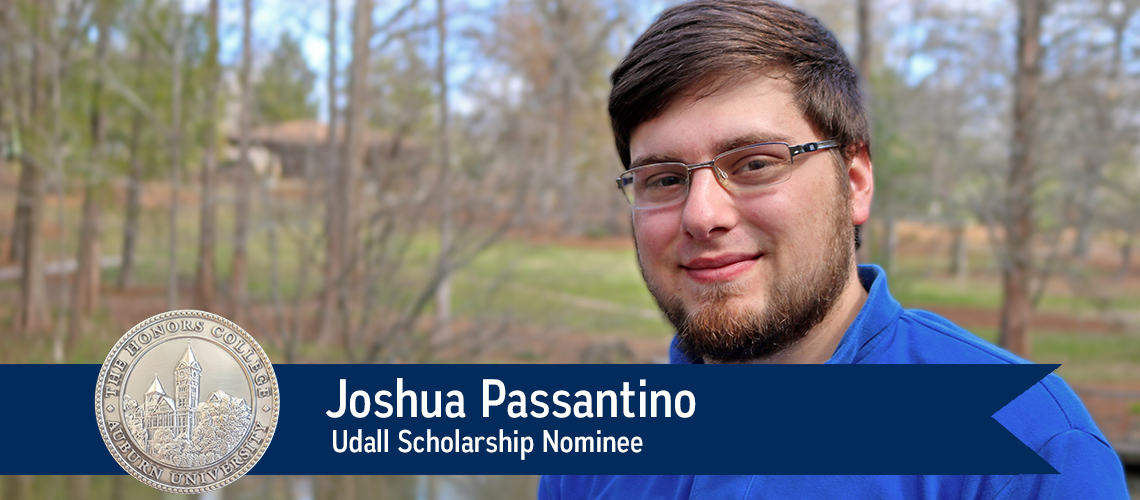 Joshua Passantino stands alongside pond in Auburn University's Davis Arboretum. Udall Scholarship Nominee