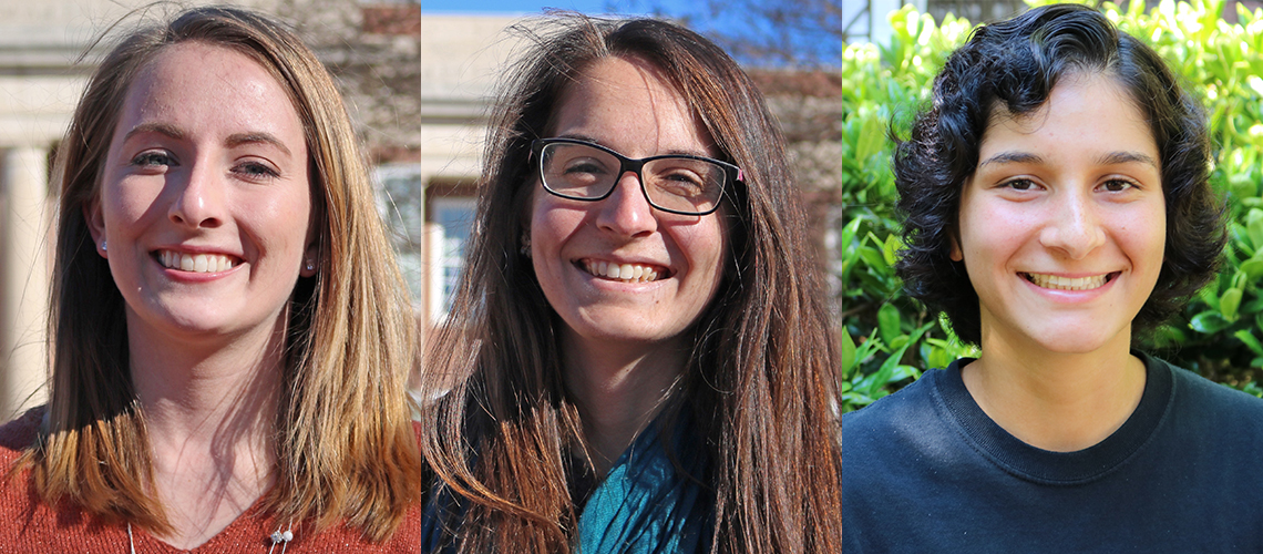 Headshot of Barry Goldwater Scholar recipients Sara Head, Jennifer Kaczmarek and Natasha Narayanan