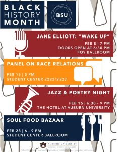 BSU BlackHistory Month flyer of events