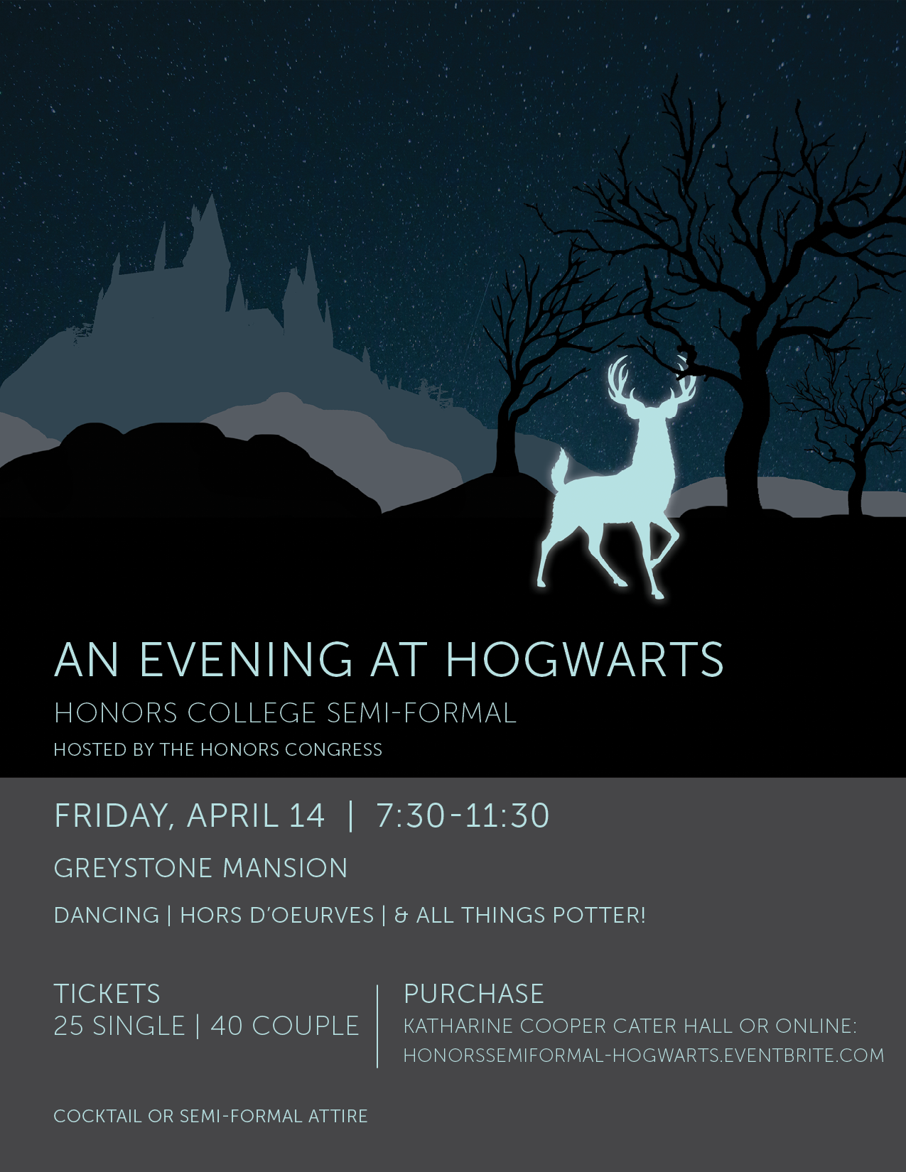 Flyer for the Honors Congress formal an evening at hogwarts featuring a patronus and hogwarts in the background