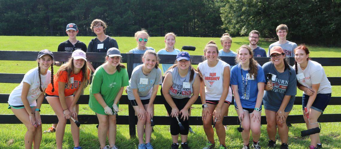 Students volunteering at Storybrook Farm in Opelika