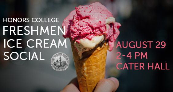 Freshmen Ice Cream Social graphic with an ice-cream cone