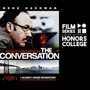 movie poster for the conversation with addition of HC film series graphic