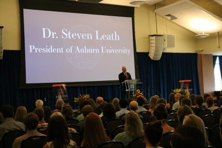 Dr. Leath speaking at freshmen induction ceremony
