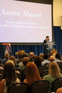 Azeem Ahmed speaking at freshmen induction ceremony