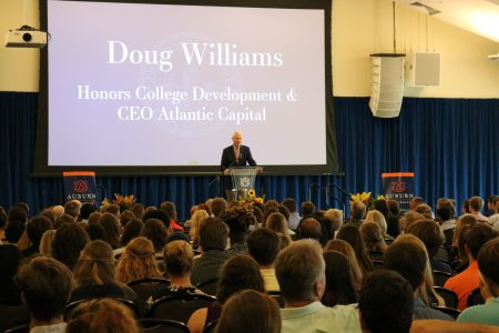 Doug Williams speaking at freshmen induction ceremony