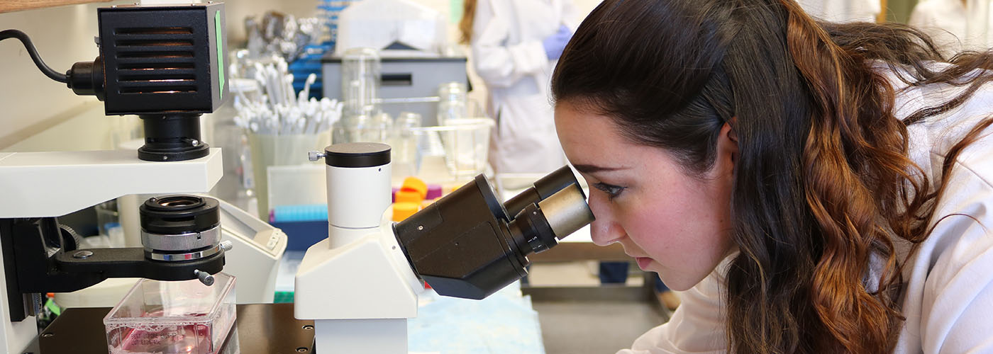 female student looking into a microscope in lab