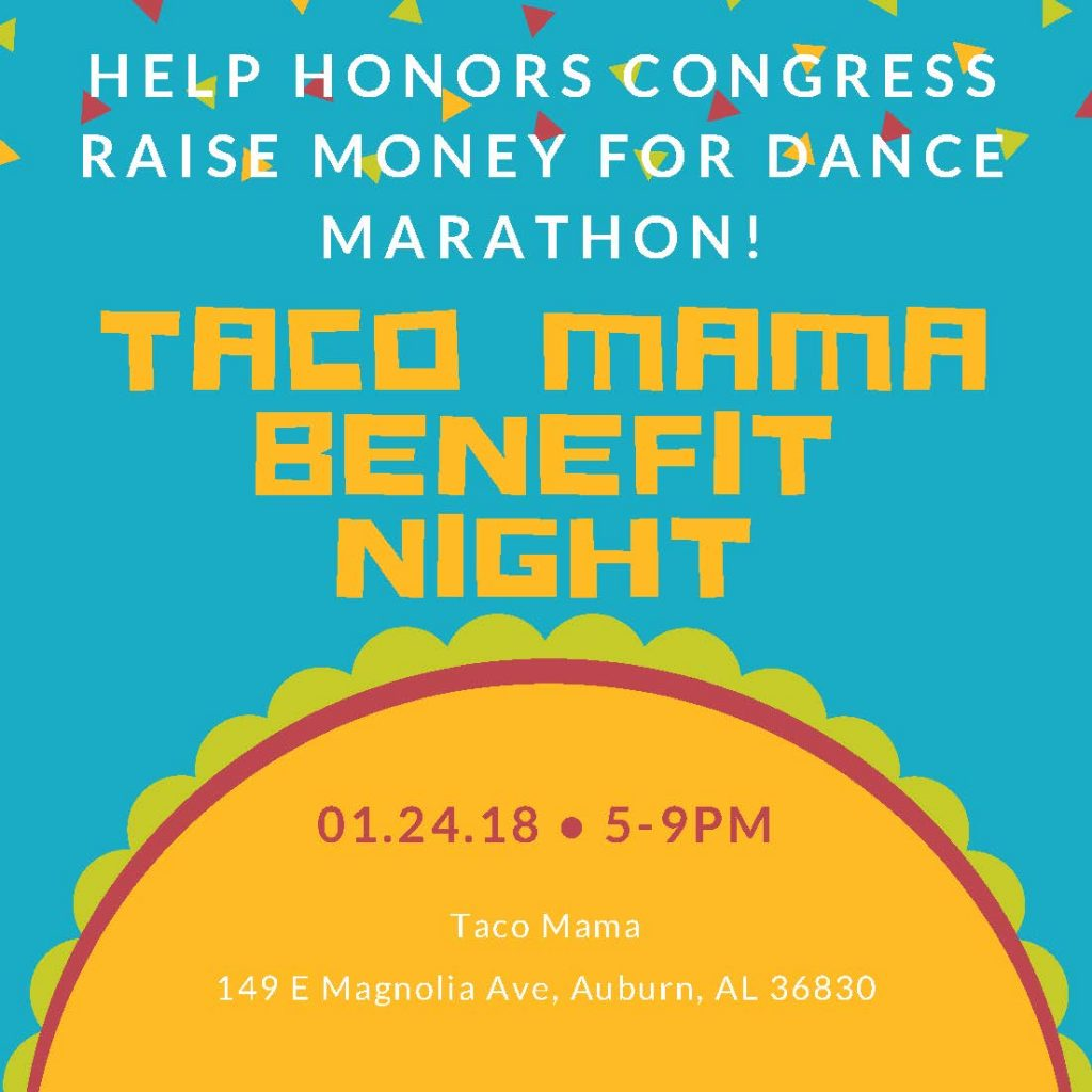 graphic for Taco Mama benefit night on jan 24 from. 5-9