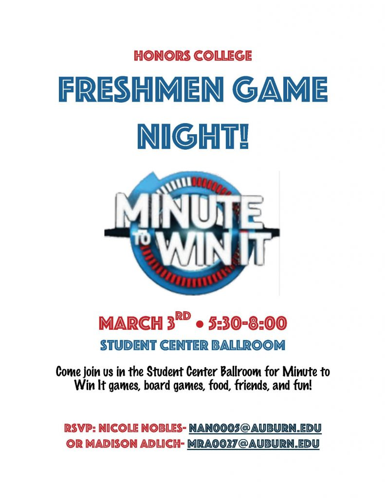 flyer for honors congress game night on march 3 from 5:30 to 8 pm