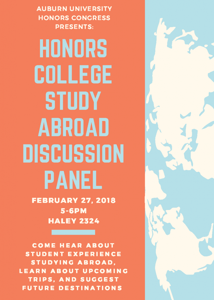 honors congress study abroad panel on feb 27 from 5-6 pm in Haley 2324