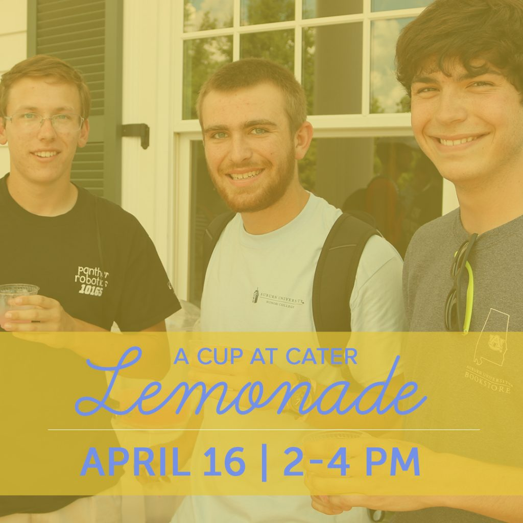 three students enjoying lemonade with the a cup at cater lemonade date and time in from April 16 from 2-4 pm
