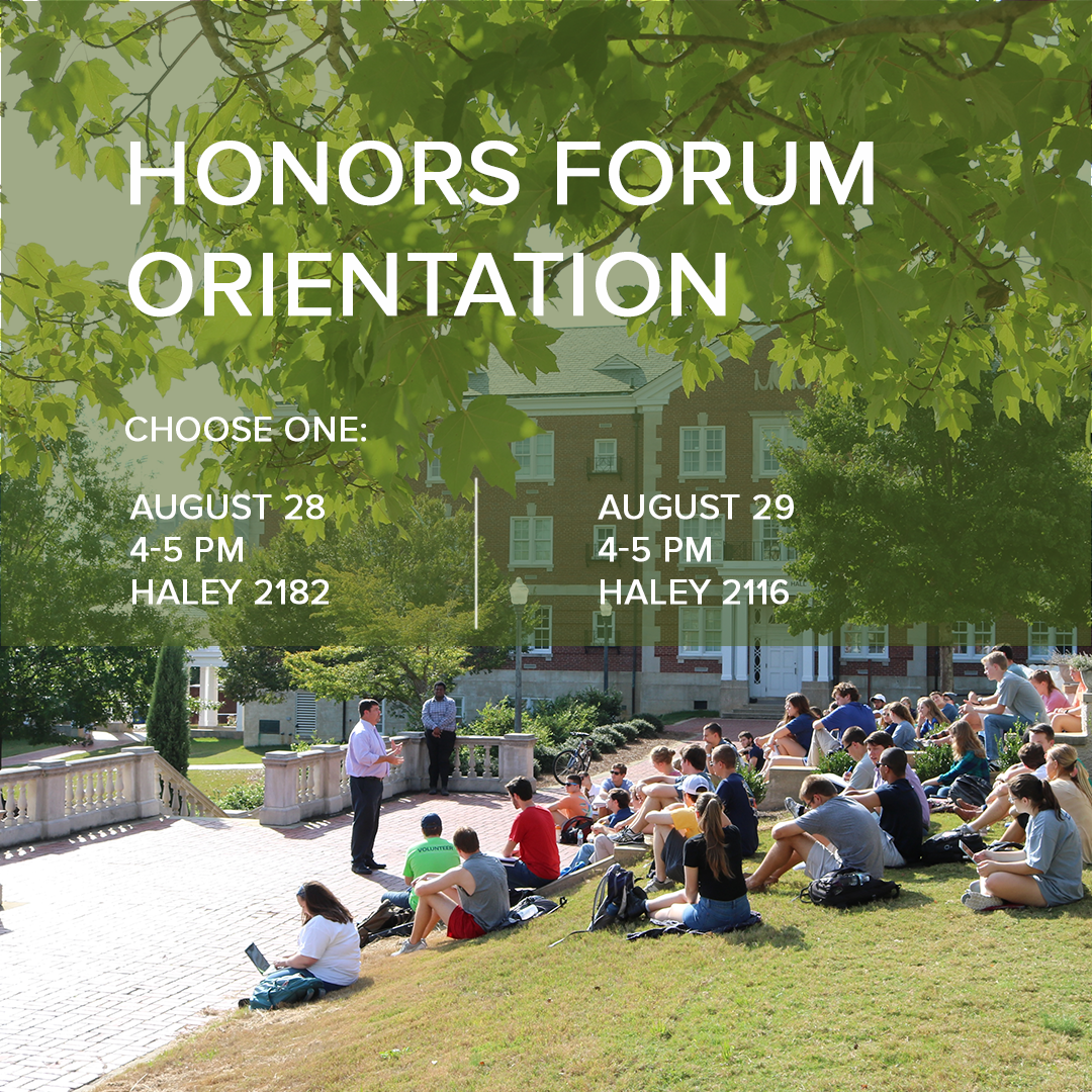 honors forum orientation dates august 28 and 29