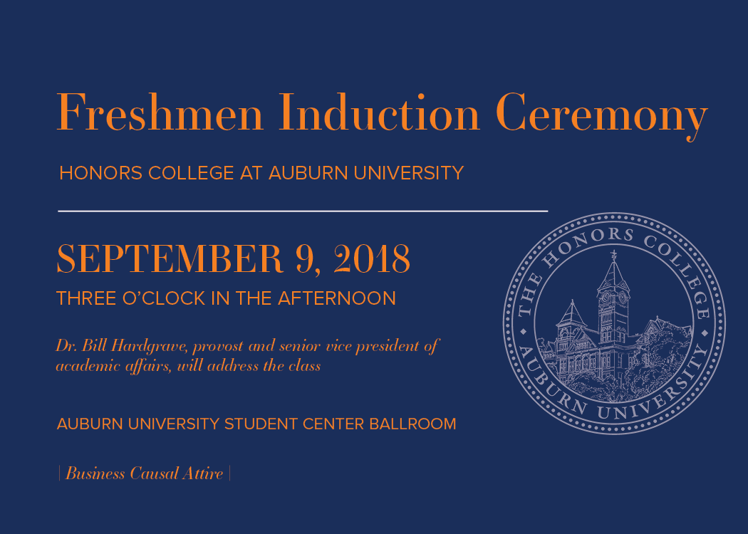 Freshmen Induction Ceremony to be held on Sept 9 at 3 pm