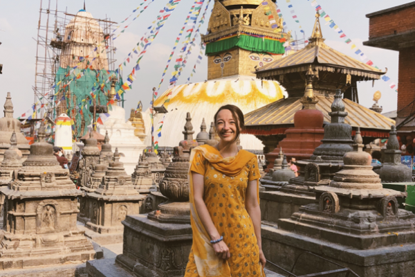 Lindsey Olive in traditional Nepali dress