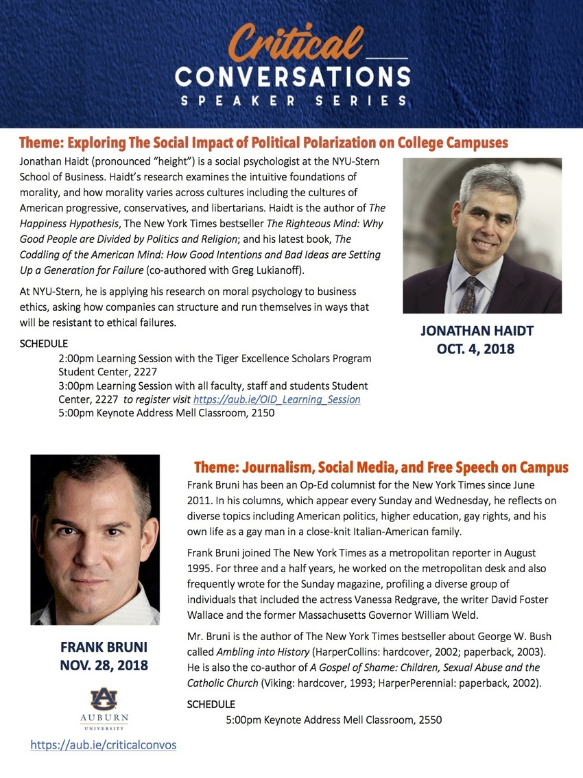 Flyer for Critical Conversations speaker series
