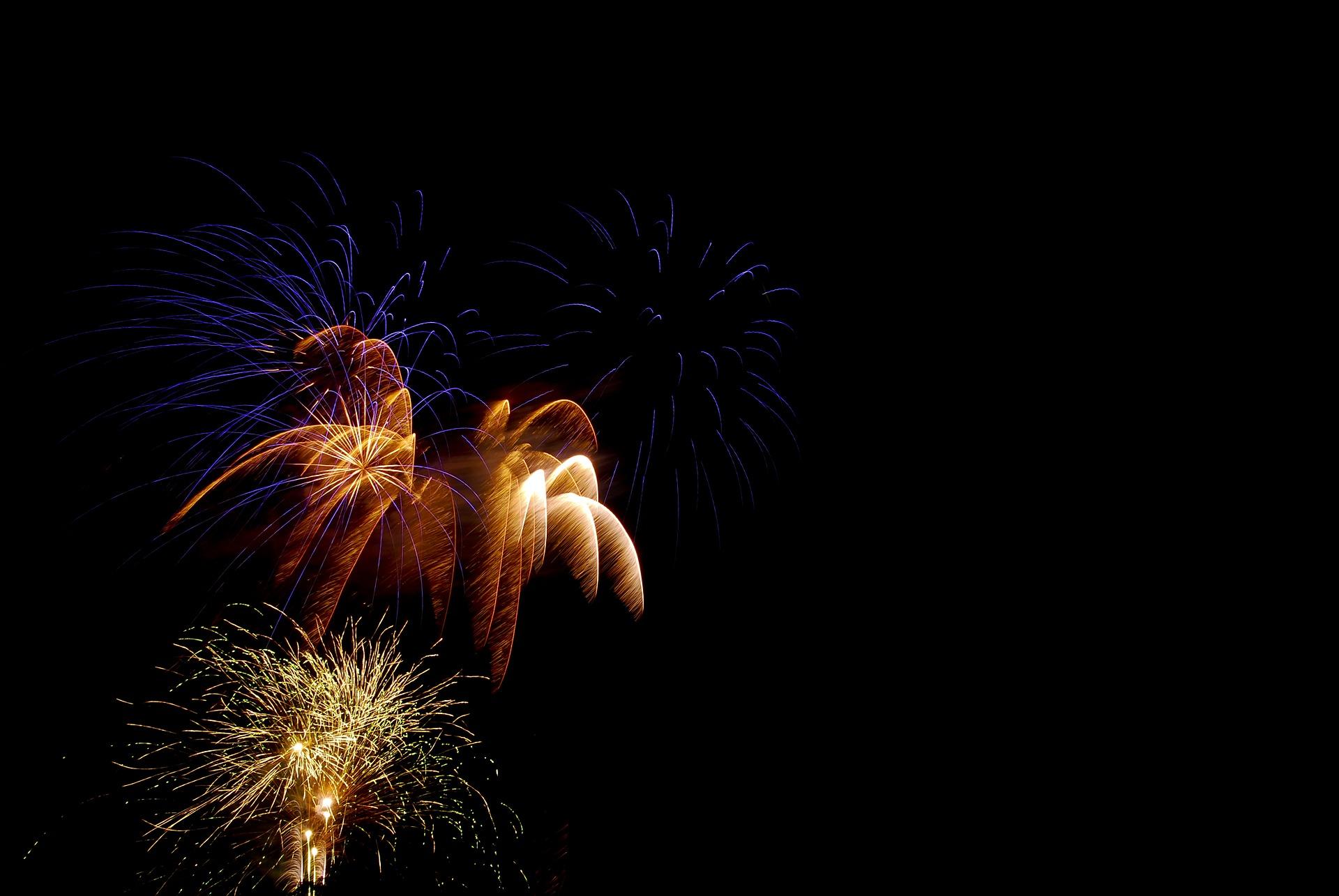 Fireworks against a black sky