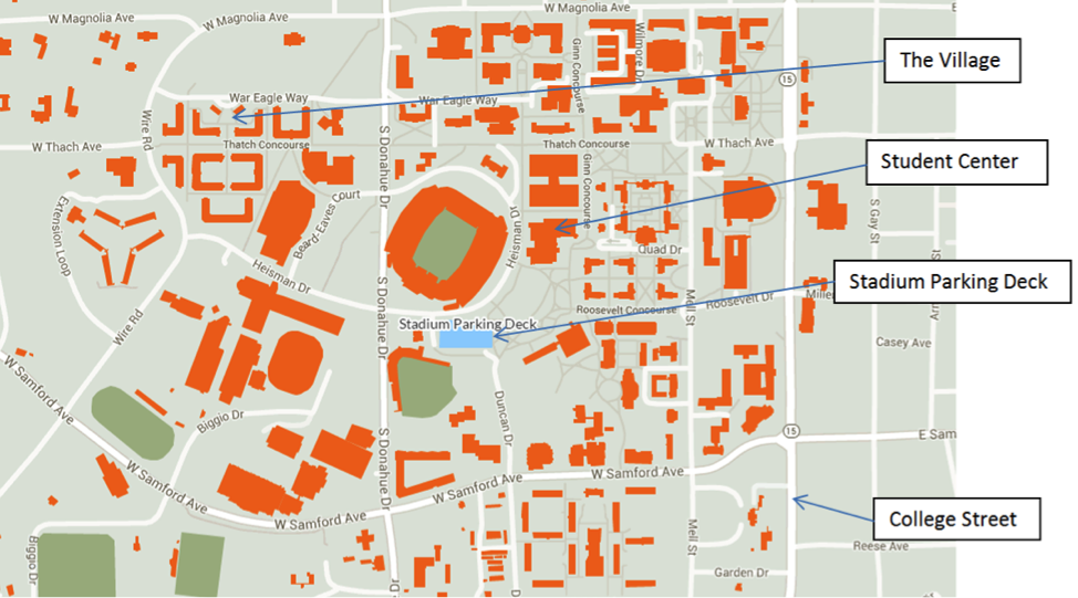 Map Of Auburn University Map | Honors College Map Of Auburn University